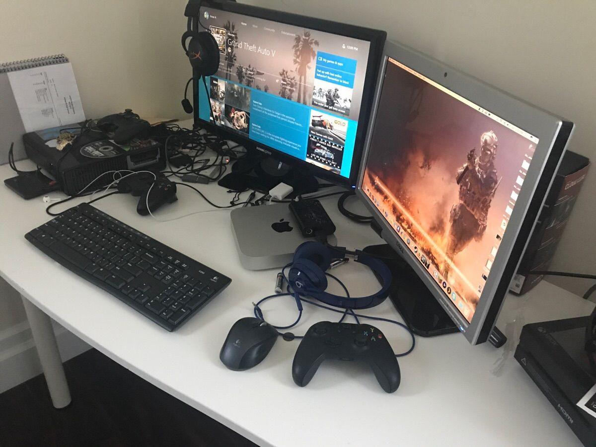 My sons battle station. Mac Mini Xbox One Xbox 360 and