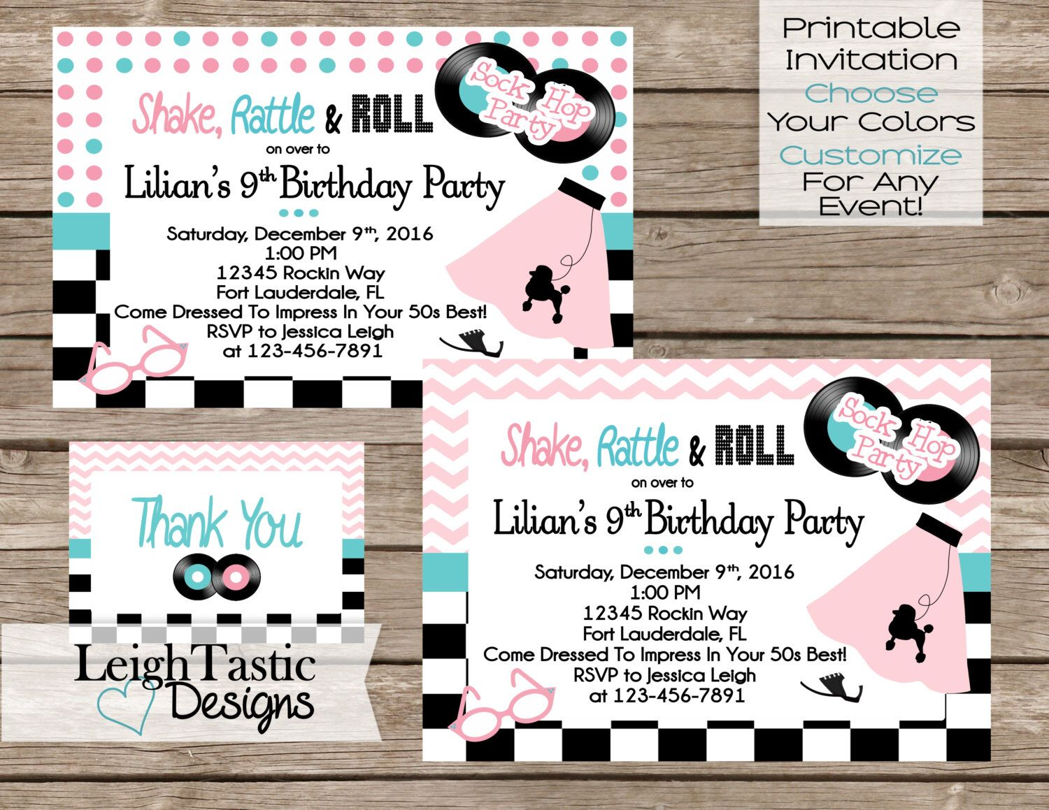 50\'s Sock Hop Invitation Birthday Party 50\'s Party- Sock Hop Invite ...
