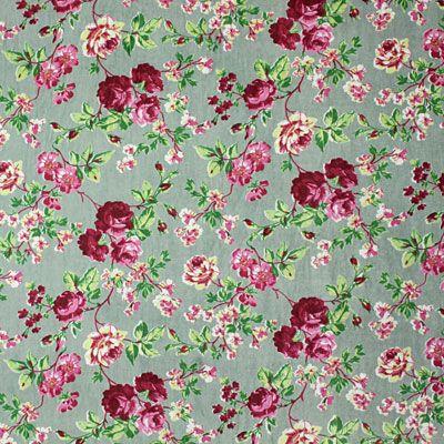 Terciopelo con flores 8 - Algodón - oliva