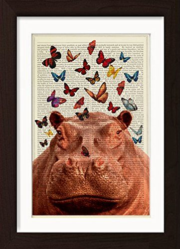 Hippo with Colorful Butterflies Mounted / Matted Ready To Frame Dictionary Art Print. Mounted /Matted and Printed on antique 1870's Universal Biography Encyclopaedia Page with a even warm patina that only comes with age. Page size: 185mm x 275mm / 7.25 x10.75 inches. Every print comes with a mat/mount which means the final product is US 11 x 8.5 inches- Europe A4 297 x 210mm. FRAME NOT INCLUDED. This fits perfectly into IKEA´s RIBBA frame 11 x 8.5 for US or any standard 11 x 8.5 inch…