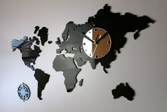 Wall Clock World Maps Modern Clock Gift Wall Decoration Wall Decor