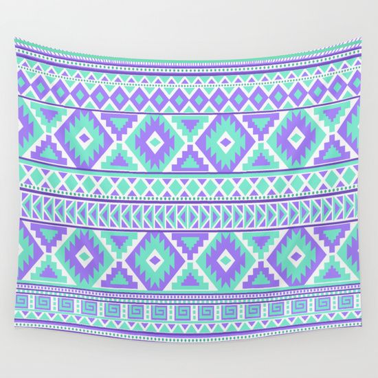 Tribal Art Creation Purple and Mint wall tapestry home decor by Tjc555