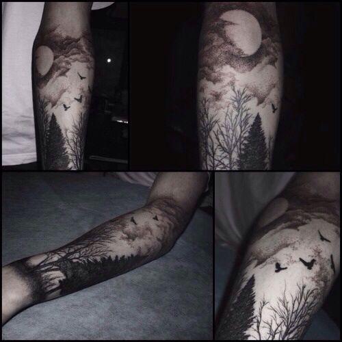 scenery woods tree forest tattoos pinterest wald tattoos tattoo ideen und tattoo vorlagen. Black Bedroom Furniture Sets. Home Design Ideas