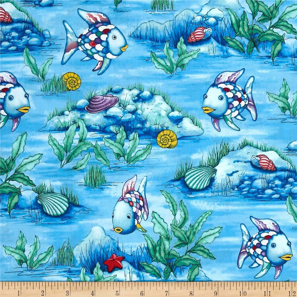The Rainbow Fish Glitter Scenic Blue From Fabricdotcom Licensed To Studio 37 Step Into The Pages Of Your Favorite Chil Rainbow Fish Quilts Ocean Inspiration