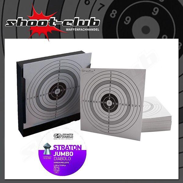 Kugelfang + 120 Zielscheiben + JSB STRATON JUMBO Diabolos 5,5mm