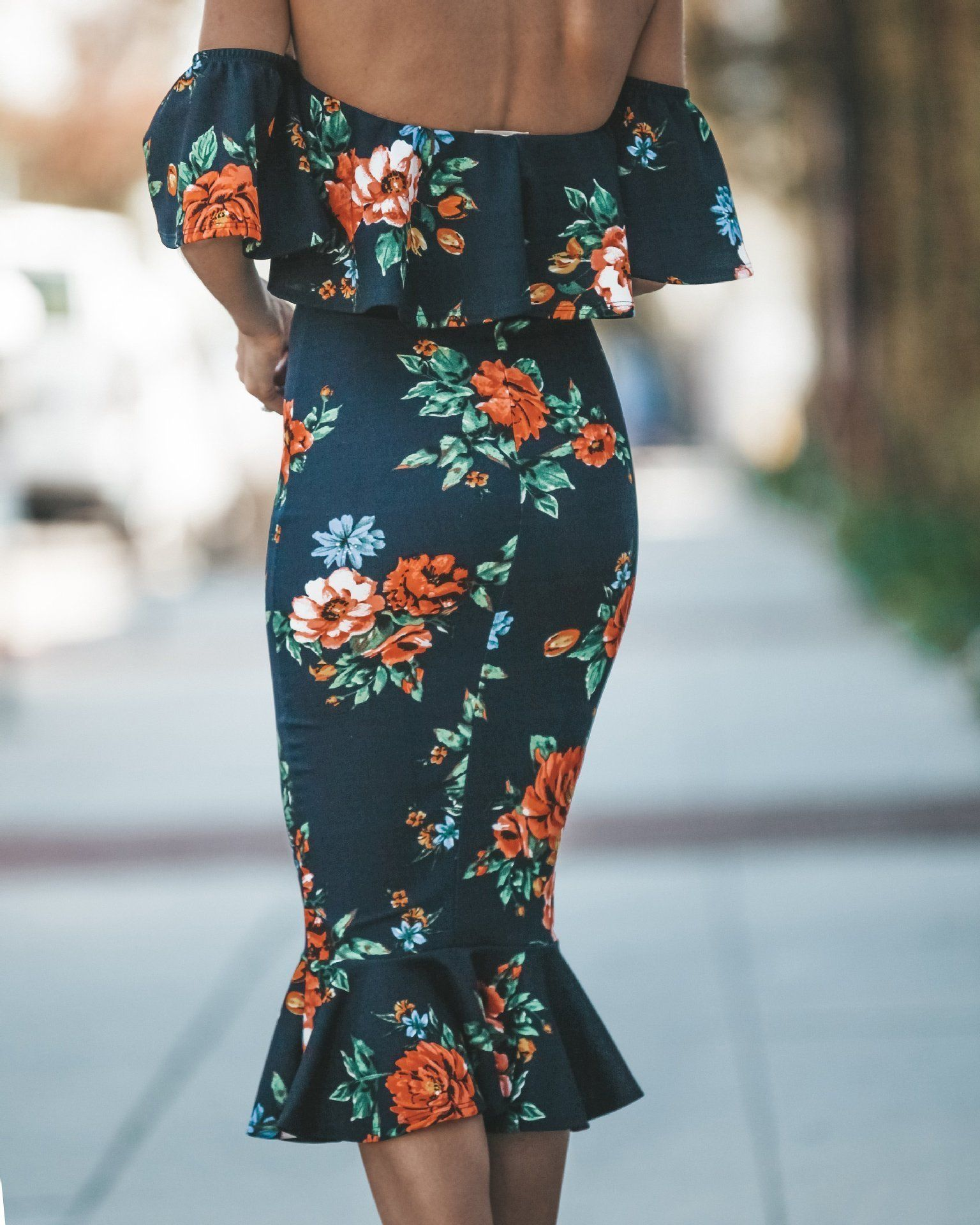 Sexy Off Shoulder Floral Print Bodycon Midi Dress #Bodycon Dresses #Bodycon #Clothing #DRESSES #Fashion #Floral Dresses #Floral Print #Floral #Holiday #LONG BOHEMIAN DRESSES #Off Shoulder Dresses #Off Shoulder #Polyester #Ruffles #Sale #Sexy #summer #190131 #