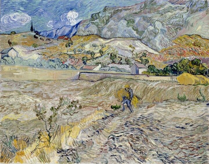 Vincent van Gogh (Dutch, Post-Impressionism, 1853-1890): Landscape at Saint-Rémy (Enclosed Field with Peasant), 1889. Oil on canvas, 29 x 36-1/4 inches. Indianapolis Museum of Art, Indianapolis, Indiana, USA.