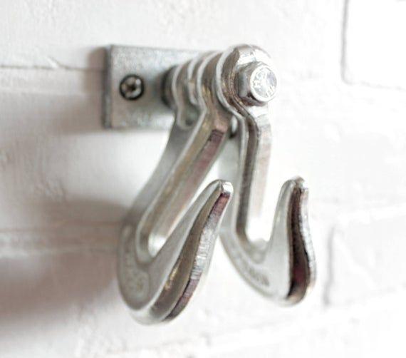 Photo of Industrial pipe hooks rustic farmhouse, Kitchen bathroom fixture, Clevis hook, Steampunk towel hook, coat rack, hanger, entryway hat hook