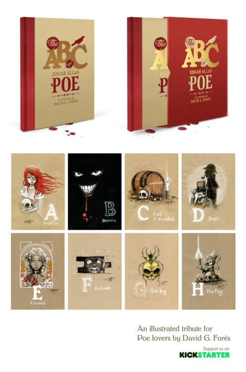 David G. Forés interpretation of Edgar Allan Poe character's in a deluxe & limited high quality art book.