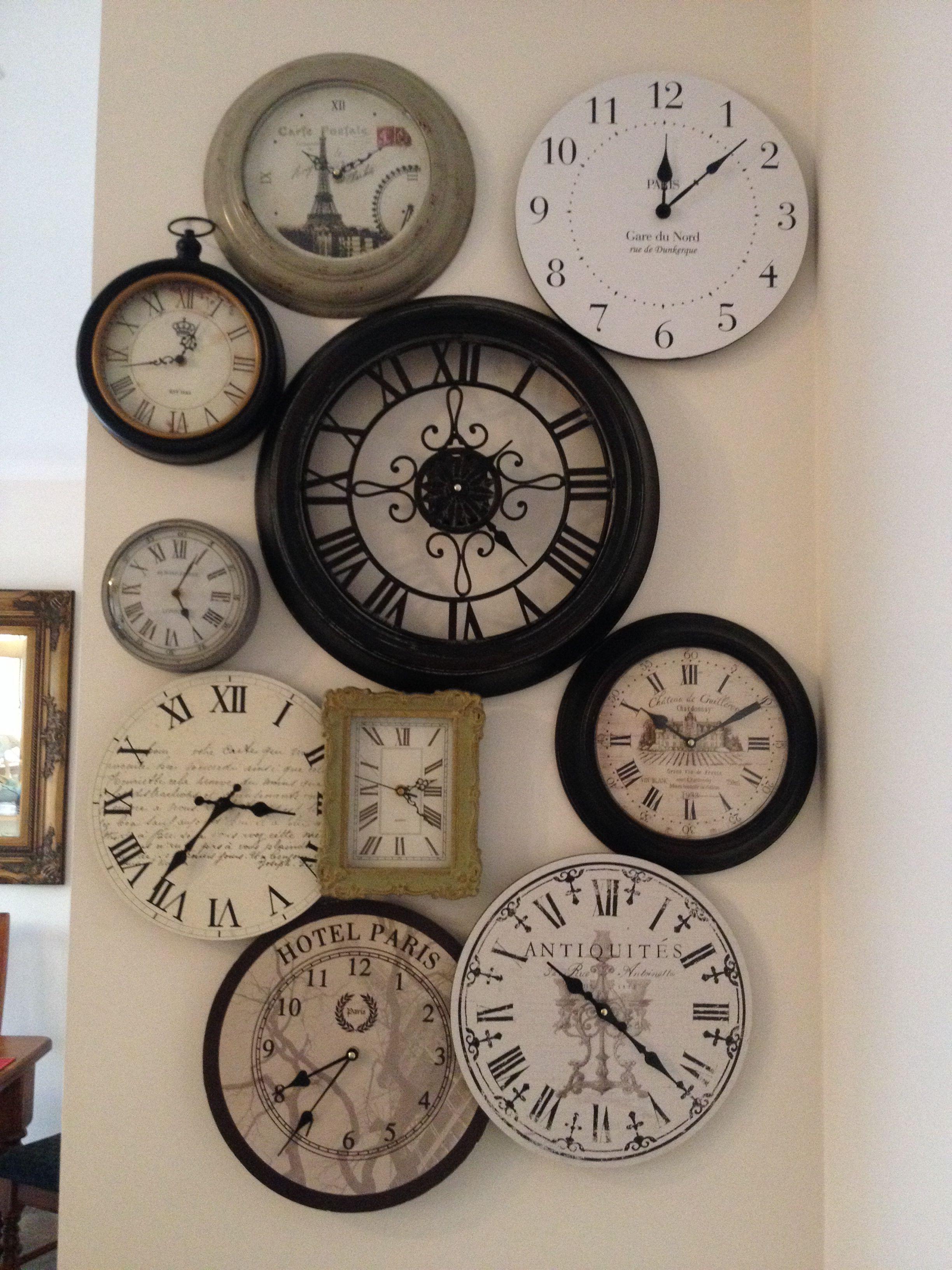 Clock Cluster In My Kitchen Diy Clock Wall Wall Clock Clock Wall Decor