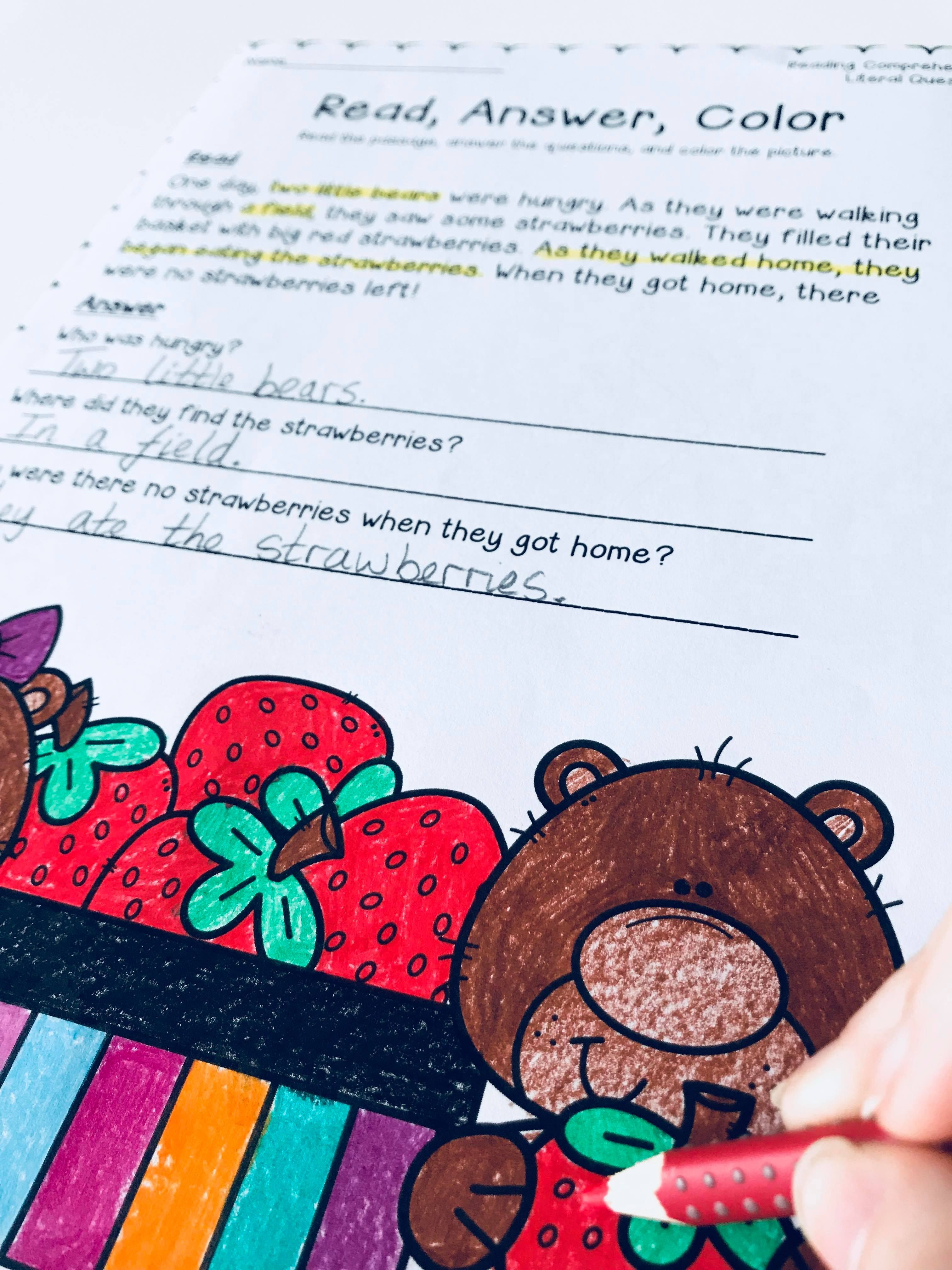 Read Answer Color 2 Reading Passages And Literal
