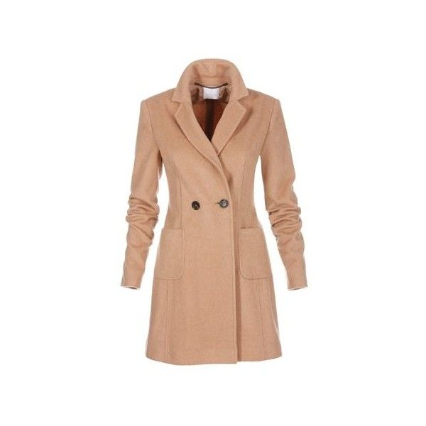 Frock coat (€405) via Polyvore featuring outerwear, coats, beige coat, double breasted wool coat, beige wool coat, woolen coat en double breasted woolen coat