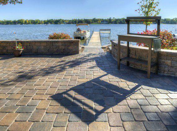 Lakefront Patio with Camelot Paver | driveway/patio | Pinterest