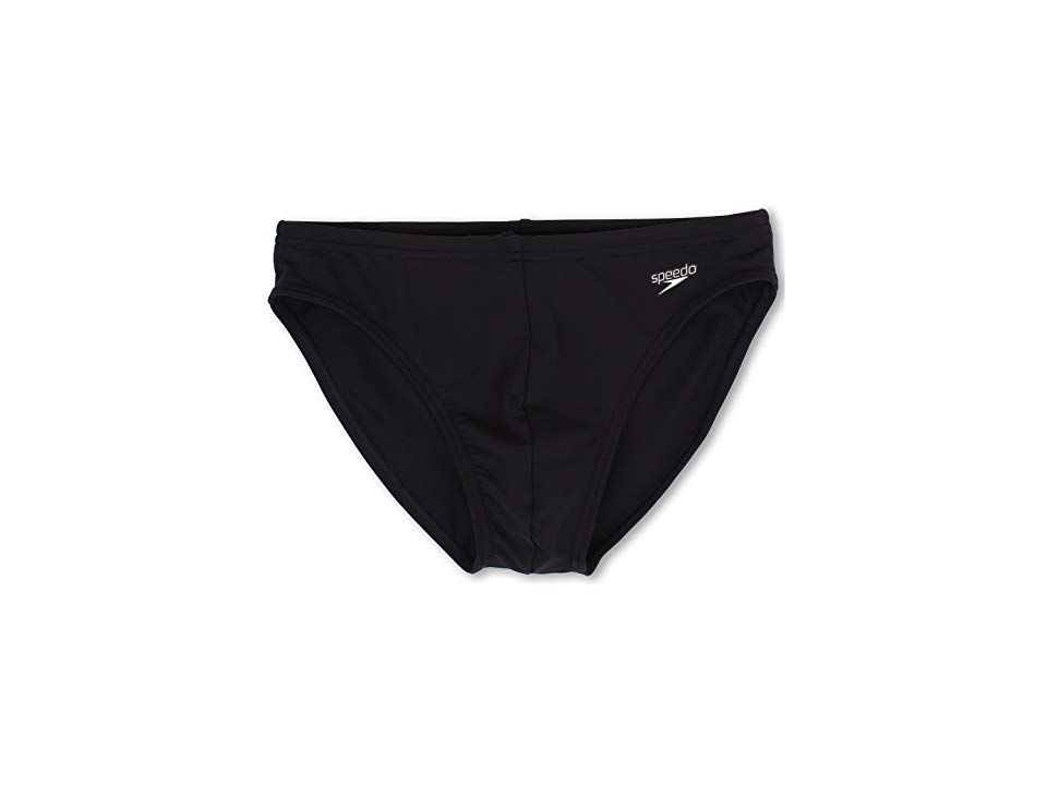 Speedo Solar 1 Brief (Black) Men's Swimwear. Light up the pool in this function-packed Speedo brief. Speedo heat transfer logo on outer left hip. Solid swim brief. Speedry fabric utilizes a water repellent coating to limit water absorption for reduced drying time while still providing maximum comfort. UV Block The Burn technology utilizes a tighter knit  improved fit  and increased coverage to deliver UPF 50 protection. Extre