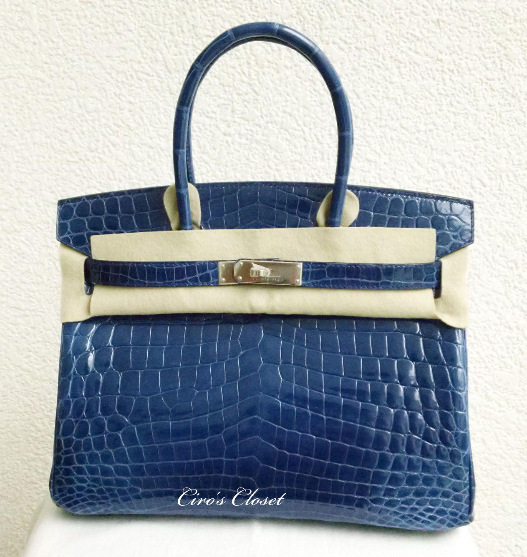 HERMÈS Birkin 30 Bleu Sapphire Shiny Nilo Crocodile PHW NEW -SOLD- 2b1269c793471
