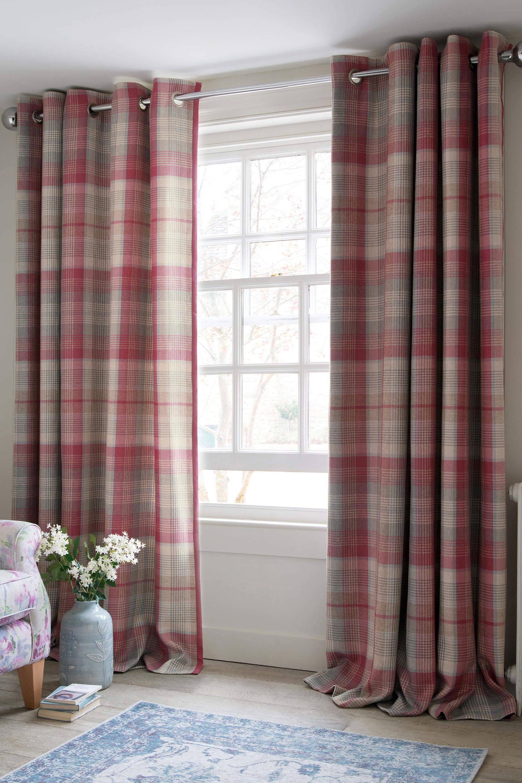 Buy Raspberry Woven Check Milton Eyelet Curtains From The Next UK Online Shop