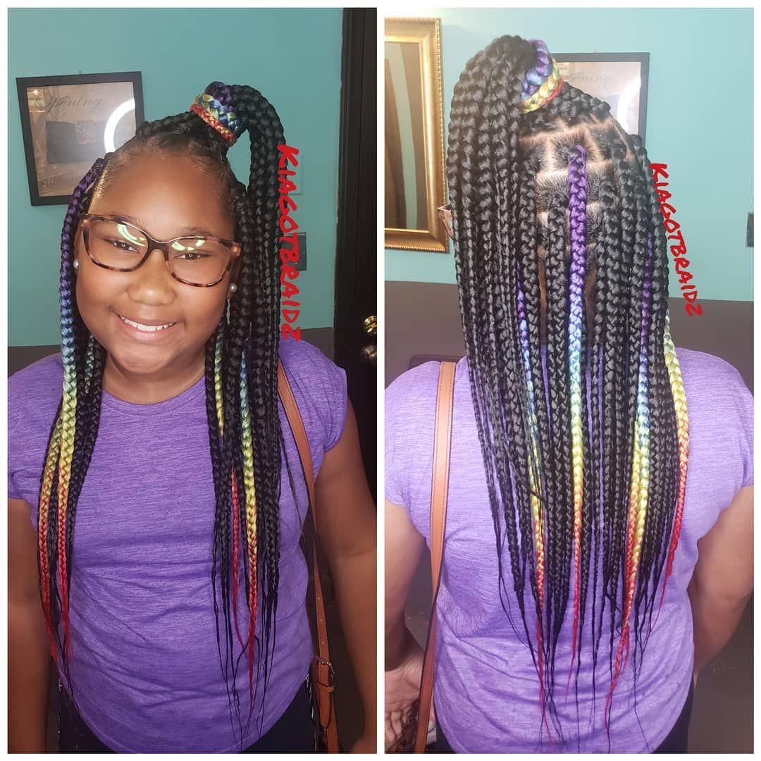 Knotless Box Braids On Instagram Kids Med Lrg Box Braids Ages 10 Only Thanks Mzwilco Little Girl Box Braids Black Kids Hairstyles Braids For Kids