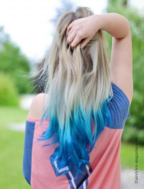 Blue Blonde Dipdyed Hair Hairstyles