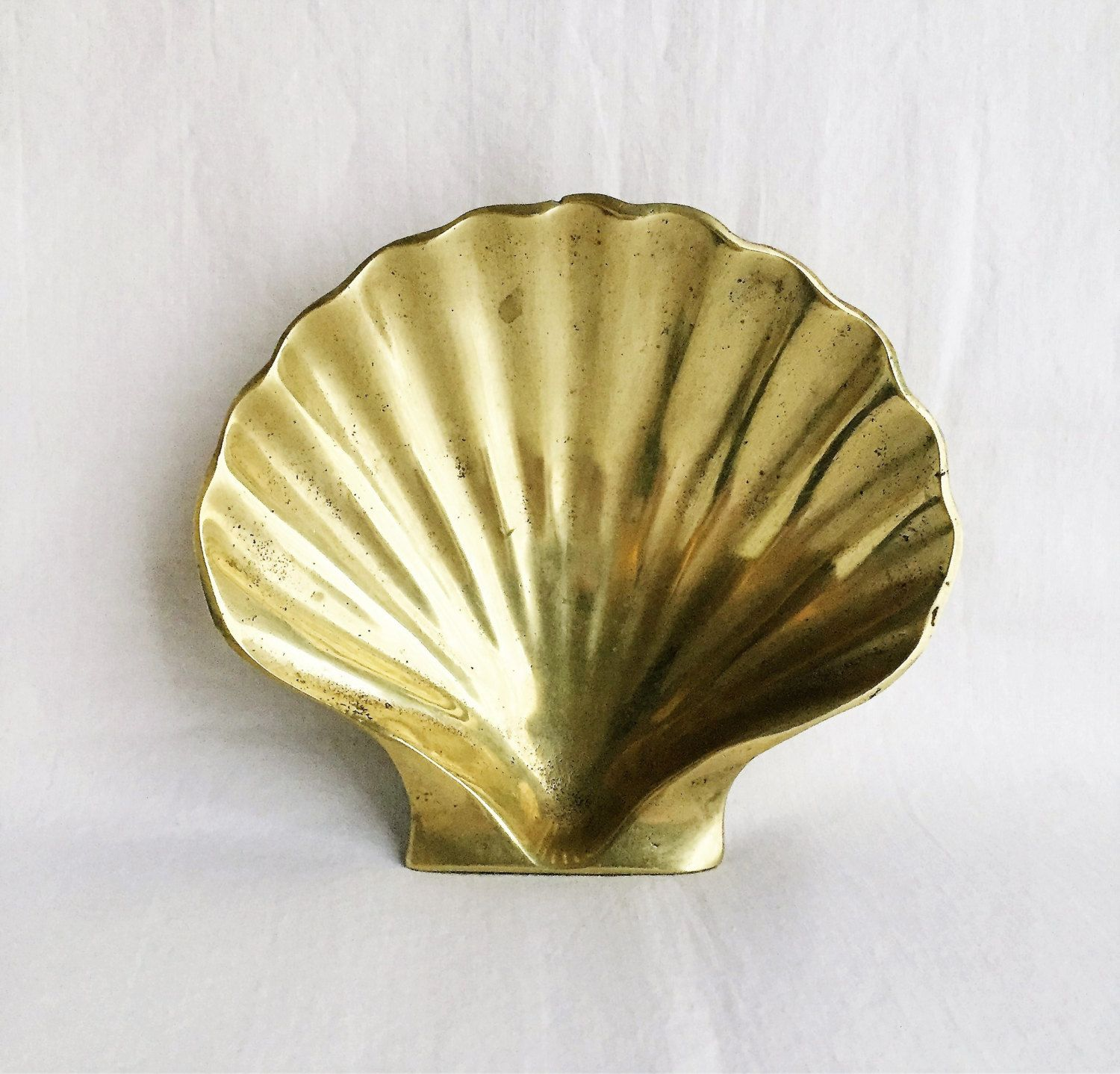 vintage brass oyster shell Ethan Allen brass home decor brass ...