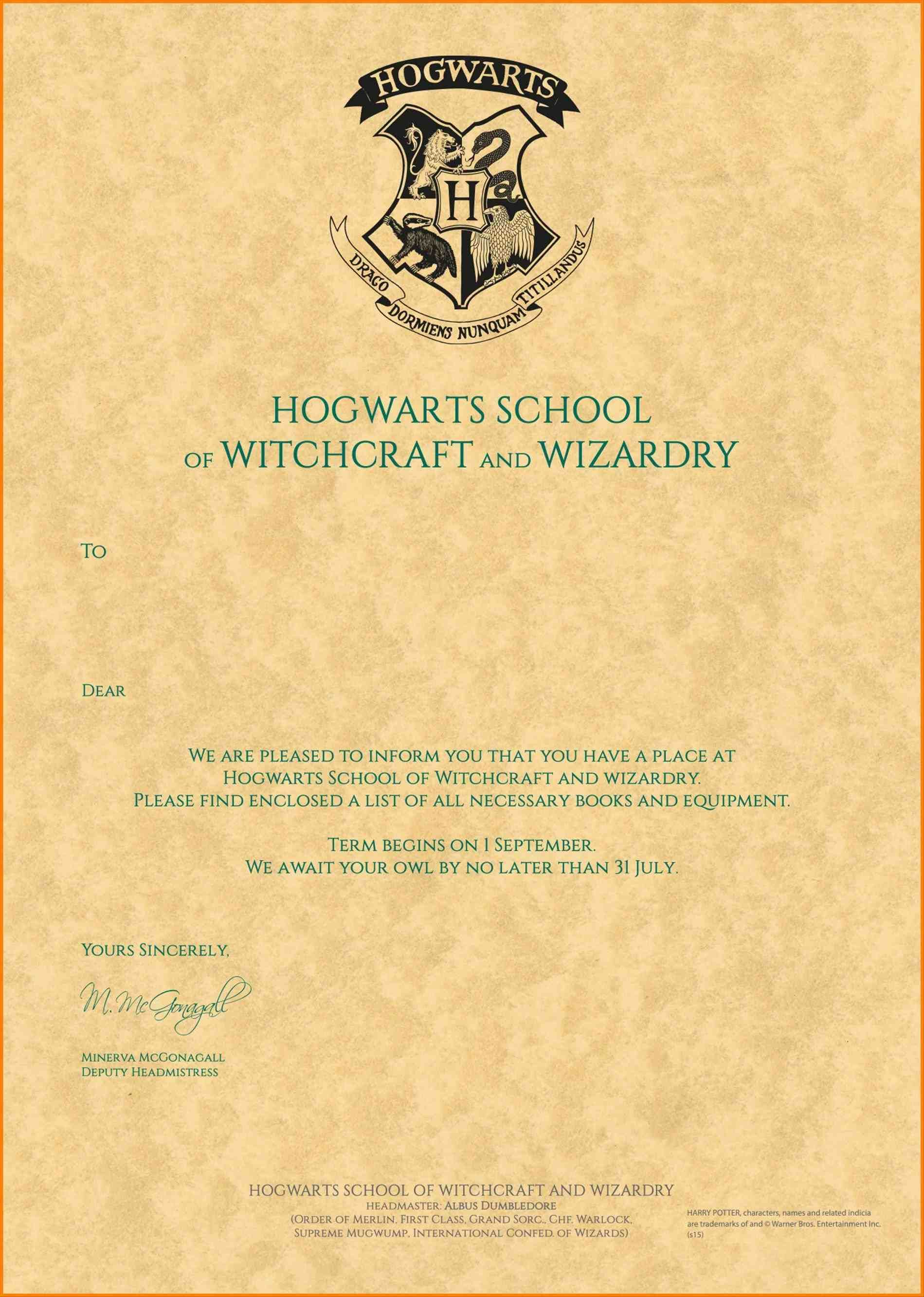 Harry Potter Hogwarts Acceptance Letter Printable By Harry Potter