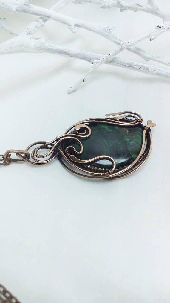 Malachite necklace Wire wrapped jewelry Green large stone | Wirework ...
