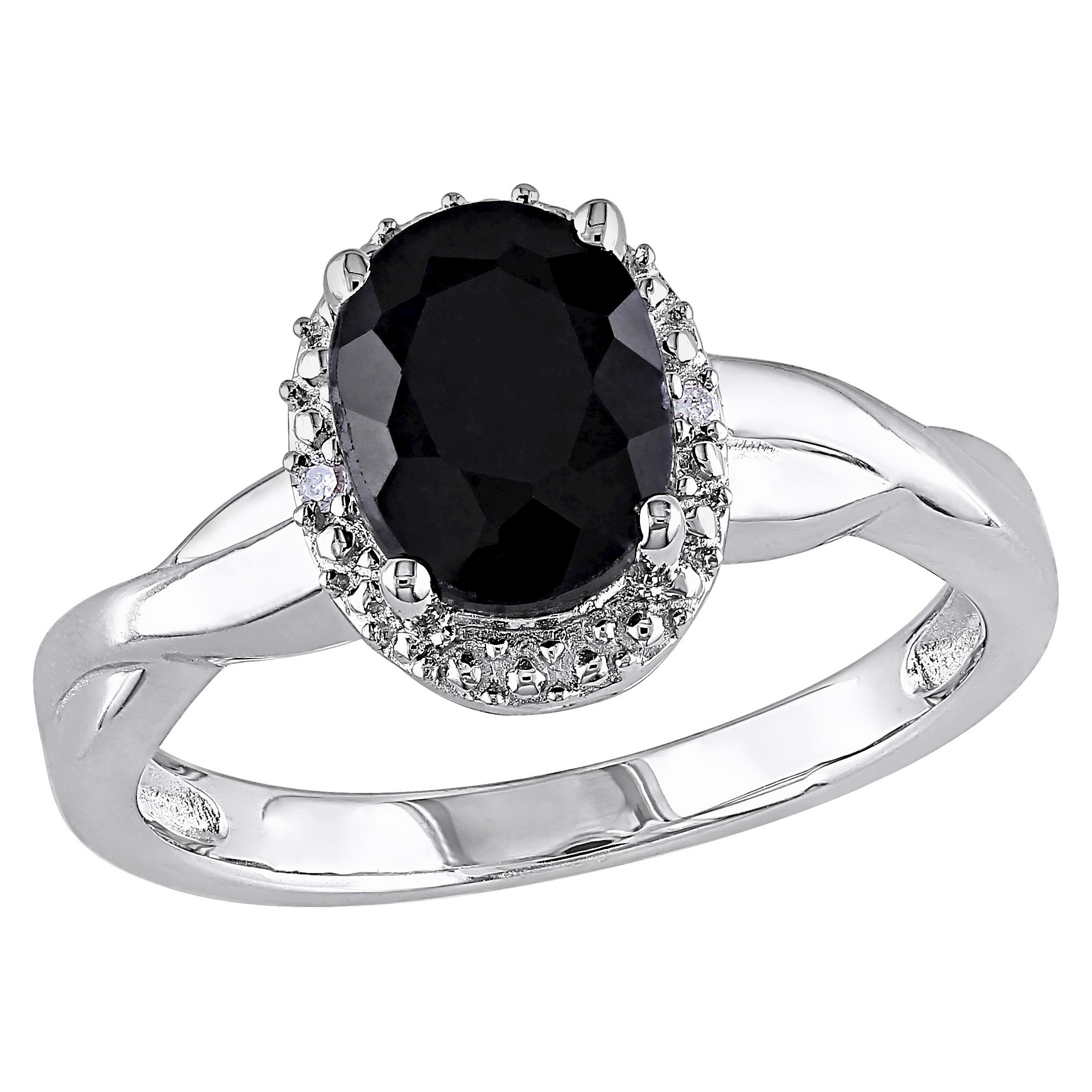 1 3 5 Ct T W Oval Black Sapphire And 0 01 Ct T W Diamond Ring Silver I3 9 Black Black Sapphire Ring Sapphire Diamond Ring Black Rings