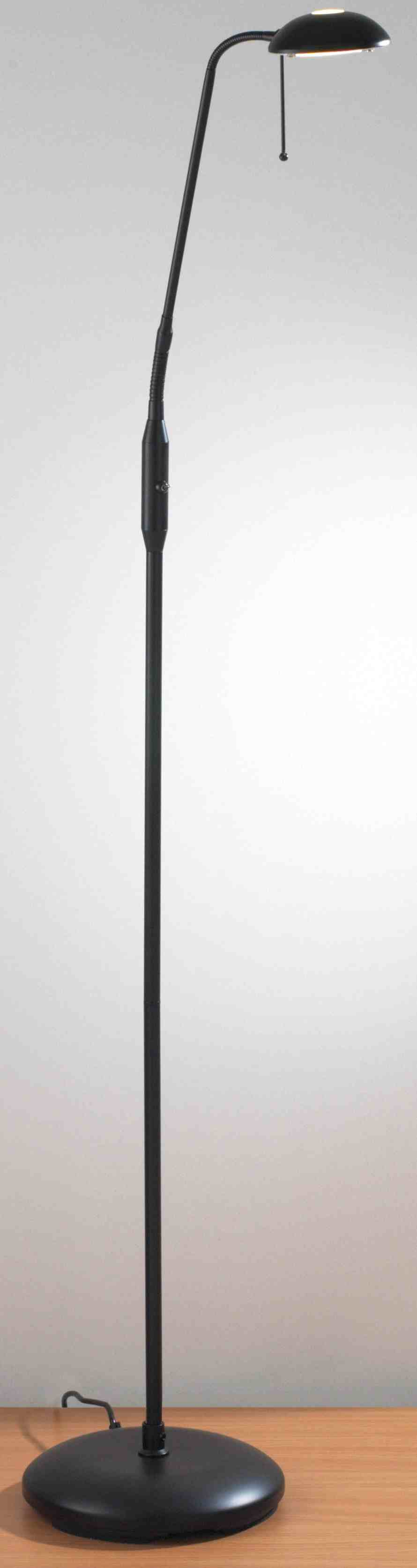 Halo floor lamp with switch on pole black and brown interiors