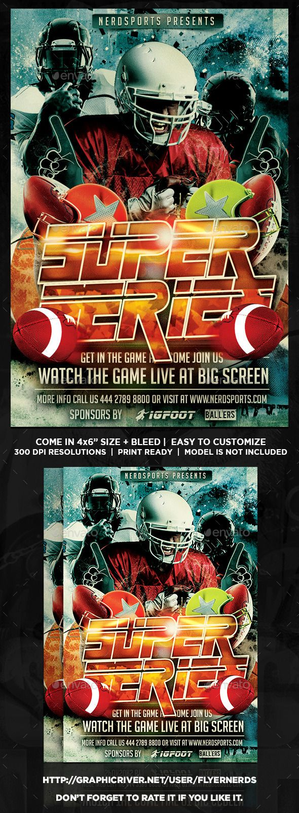 Football Super Series Sports Flyer  Event Flyers Flyer Template