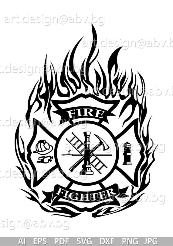 Vector Fire Fighter Ai Eps Pdf Png Svg Dxf Jpg By Duglygraphics Fire Fighter Tattoos Firefighter Symbol Firefighter