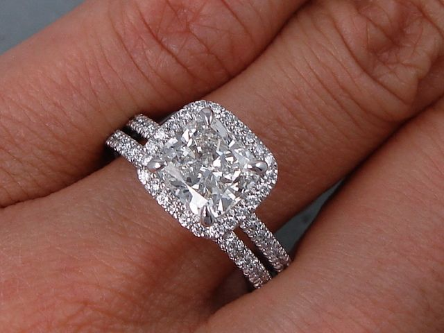 2 15 Ctw Cushion Cut Diamond Wedding Ring Set H Si1 Includes A Matching