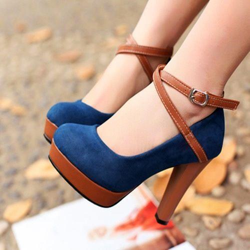 0657c21ef240 Fashion Women Wedges PU Leather Peep Toe Low Vamp Color Block Heels Shoes  Blue blue 5.5 Online Shopping