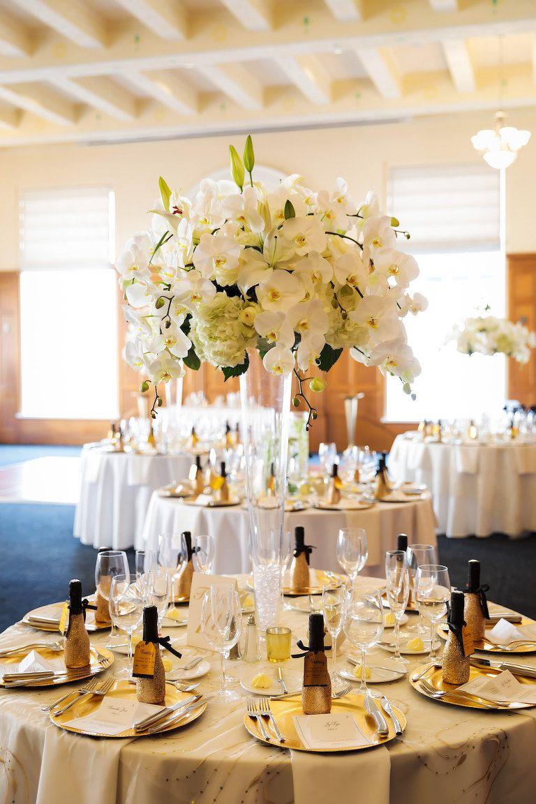 Black White And Gold Vintage Downtown Tampa Wedding Ballroom