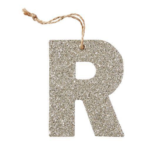 Silver German Glitter Letter Ornaments Letter Ornaments