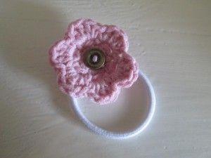 crocheted flower hair bobble