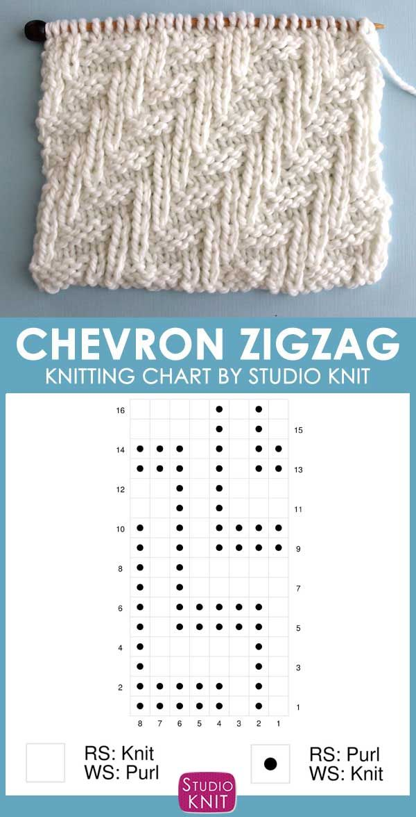 Diagonal Chevron Zigzag Stitch Knitting Pattern for Beginners | Studio Knit