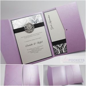Purple Lavender Rectangle Wedding Invitation Envelopes Pocket Pocketfold 5 X 7 | eBay
