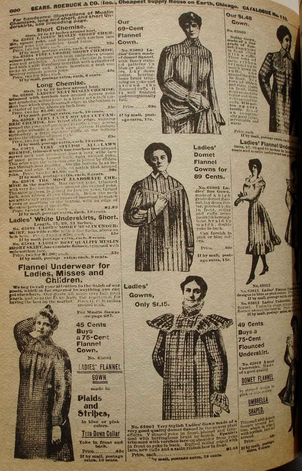 Ladies flannel night gowns and chemise, 1900. | 1900-1920 ...