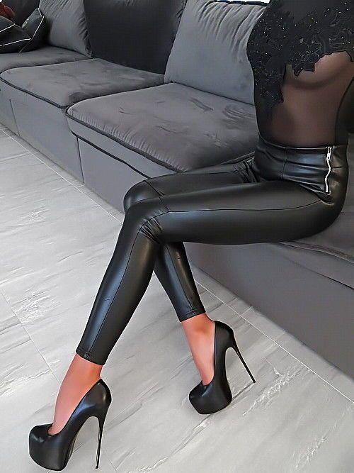 details zu manosque leder optik stretch damen luxus zg4 leather look pants hose leggings m hot. Black Bedroom Furniture Sets. Home Design Ideas