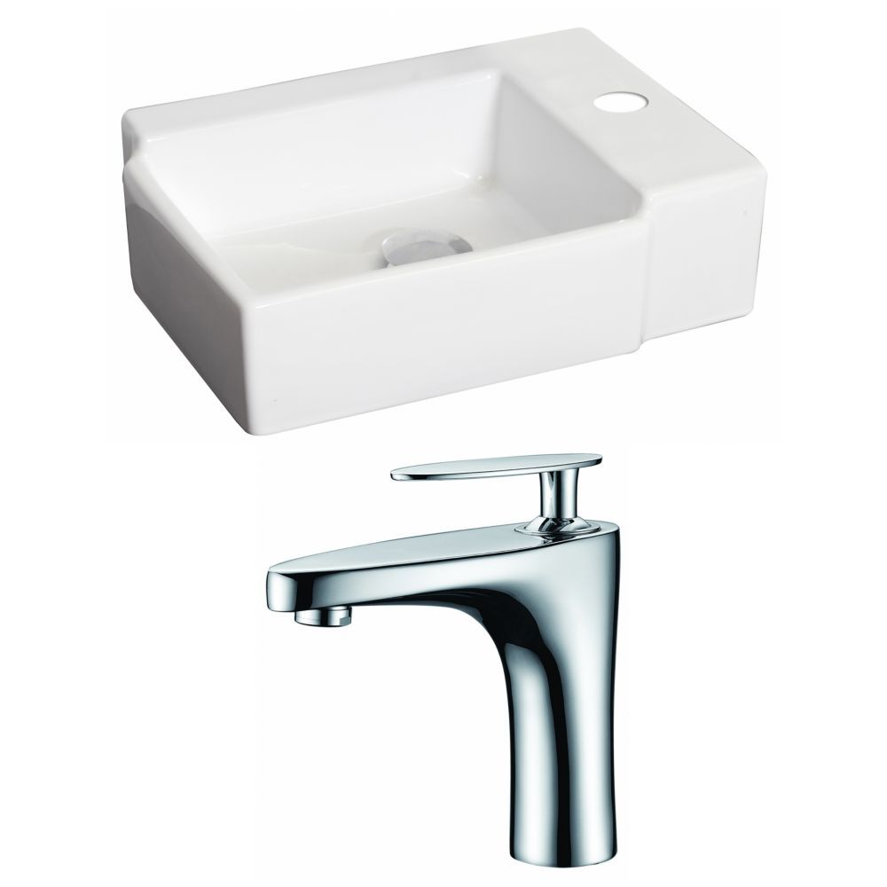 16 1 4 Inch W X 12 Inch D Rectangular Vessel Sink In White With Single Hole Faucet Wall Mounted Bathroom Sinks Sink Faucet