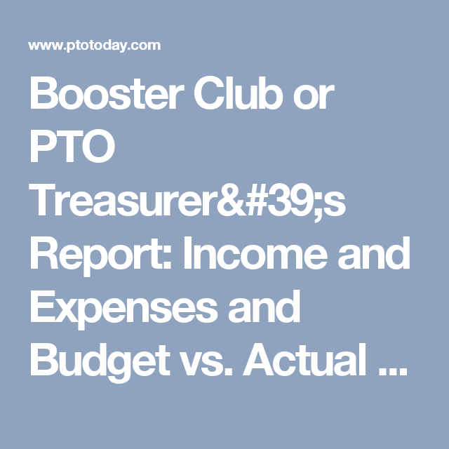 booster club or pto treasurer s report income and expenses and