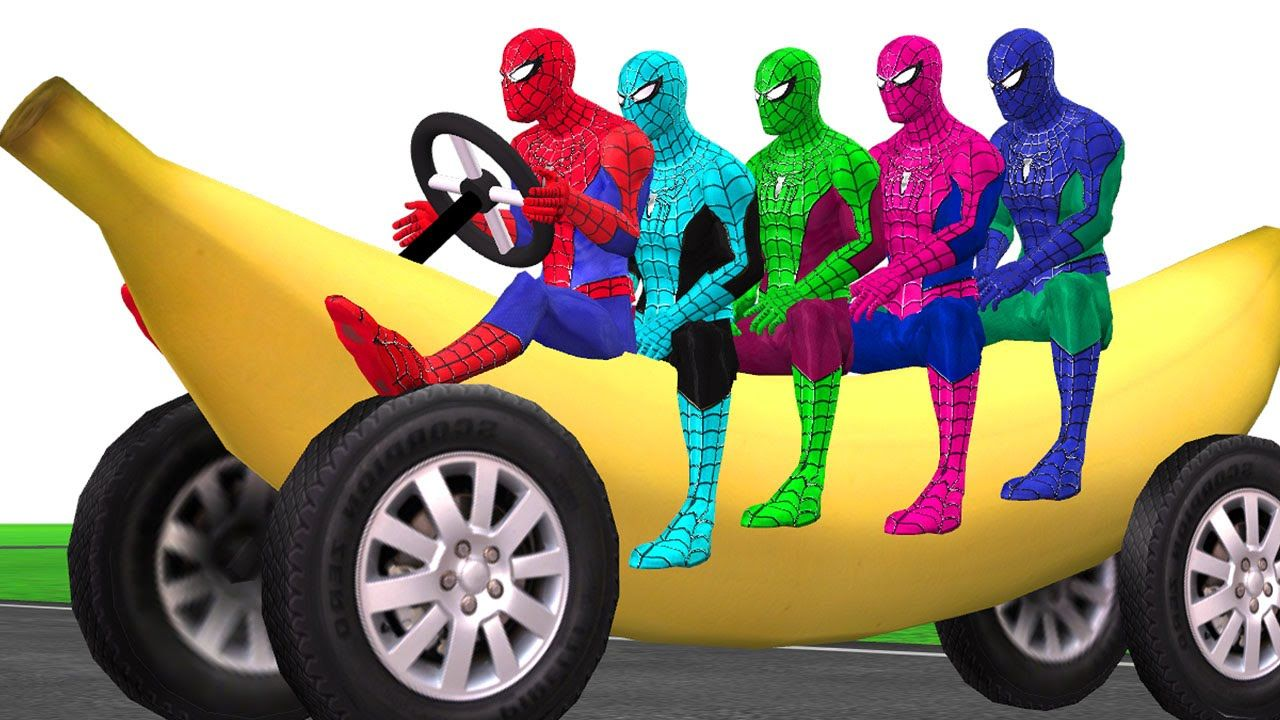 Watch Colors Spiderman Vehicle Banana Car MotorBike Boat And More ...