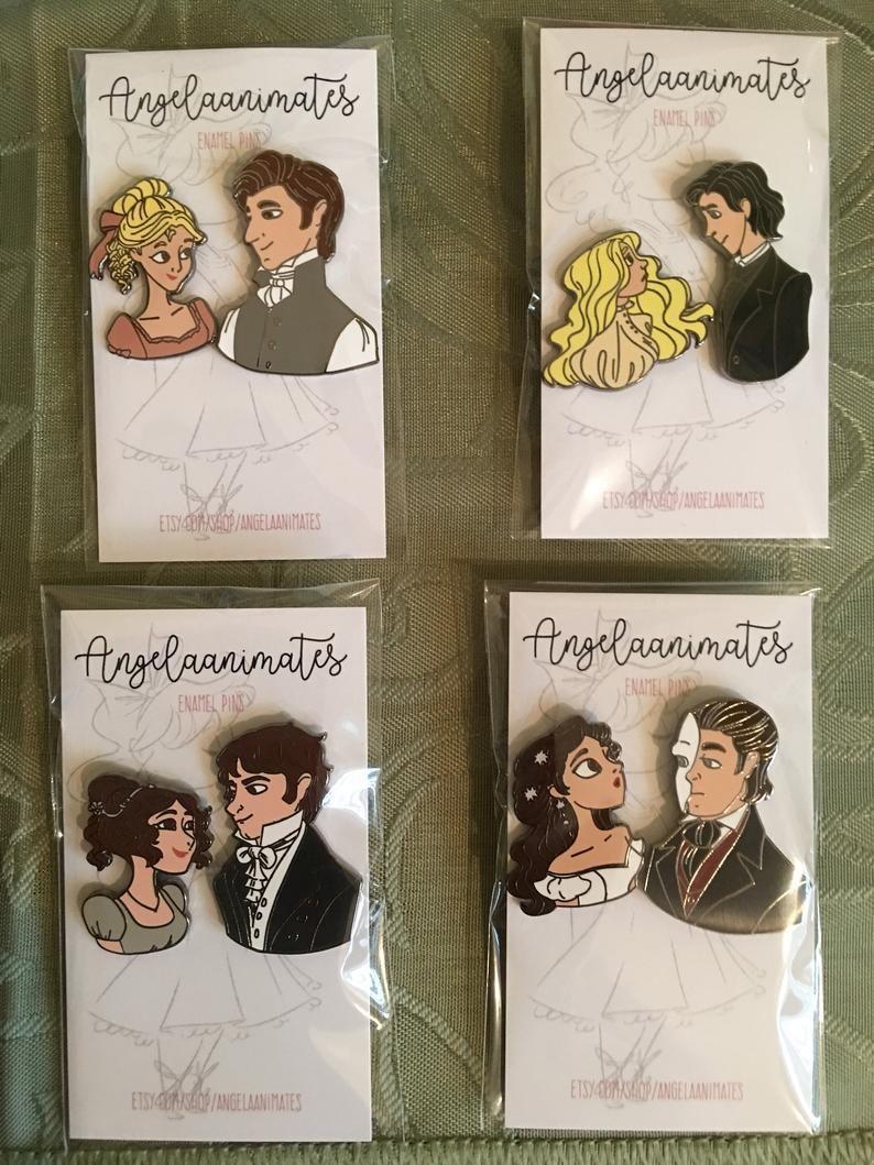 Bookish, Literary Pins, Jane Austen, Pride and Prejudice 1995 Enamel Pin Set