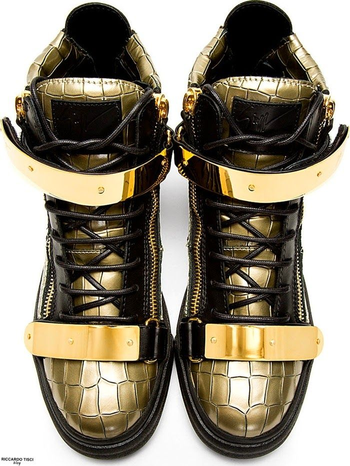 giuseppe zanotti gold leather shoes sneakers 2015 winter  ...