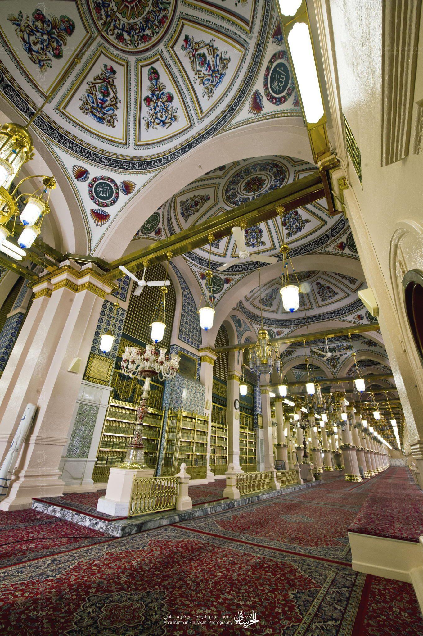 دكة التهجد بالمسجد النبوي الشريف المسجد النبوي الشريف المدينة المنورة Eiffel Tower Inside Islamic Architecture Eiffel Tower