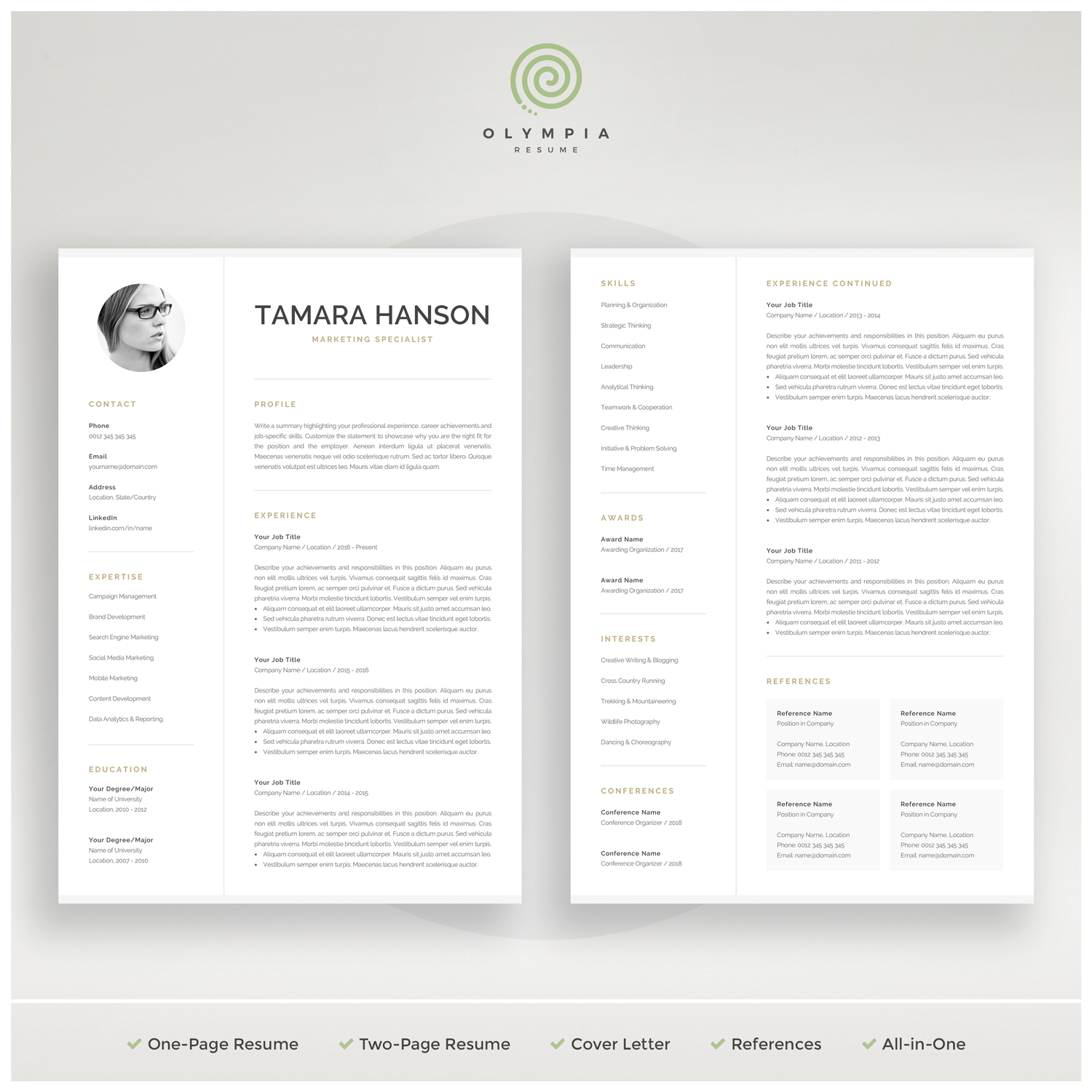 Modern Cv Template With Photo 1 2 Page Resume Professional