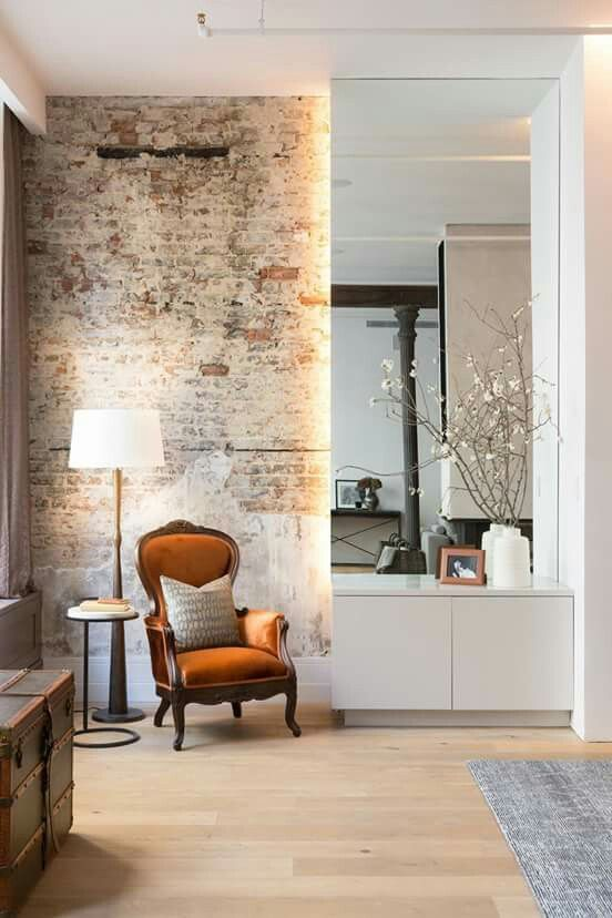 entrance hall love this combo antique and modern furniture brick