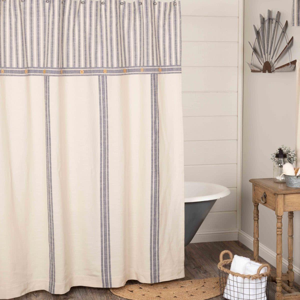 Market Place Blue Shower Curtain Blue Shower Curtains Farmhouse