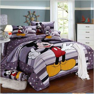 Hot Sale Mickey Mouse 4pcs Adult Bedding Set Queen King Size Falt