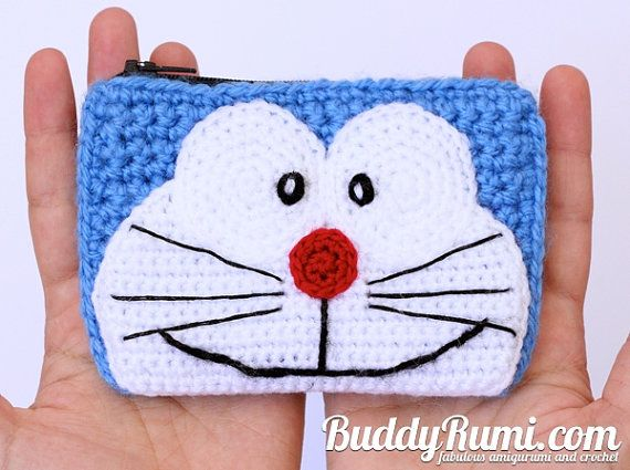Amigurumi Doraemon Free Pattern : Doaremon crochet wallet with two compartments by buddyrumi on etsy