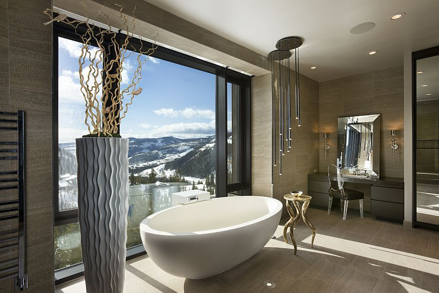 Contemporary Luxury Bathrooms master bathroom with a view of snow-capped mountains - decoist